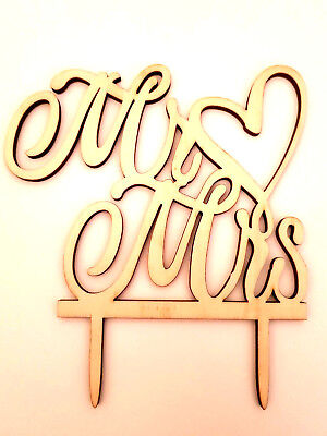 Mr & Mrs Wedding Cake Topper-And-Rustic Wood Sign-16X14Cm-Wooden-Silhouette