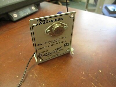 Condor DC Power Supply A24-0.225 Input: 115/230VAC Output: 24VDC 0.225A Used