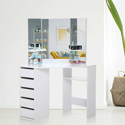 eck schminktisch stand schminktisch kosmetiktisch spiegel schwarz weiss neu eur 219 00. Black Bedroom Furniture Sets. Home Design Ideas