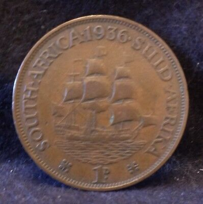 1936 British South Africa (Union) penny, George V, KM-14.3