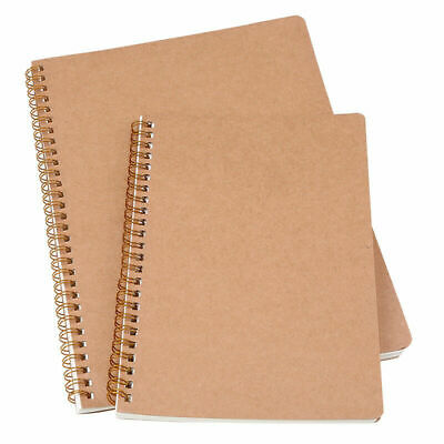 A5 B5 Dotted Grid Spiral Journal Book Notebook Kraft Paper Cover Diary Journal