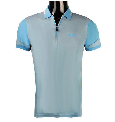 64f0e99a5 Hugo Boss Men's Prek Pro 50382181 Zipped Polo Golf Shirt s m l xl 2xl 3xl  Blue