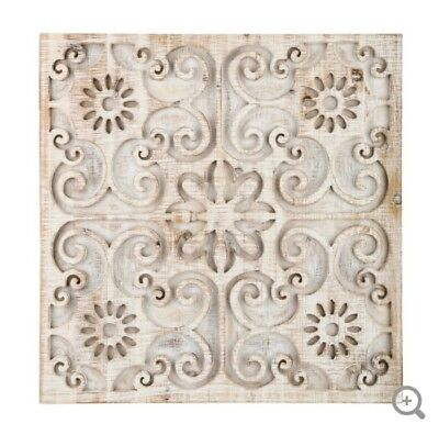 White Washed Carved Floral Distressed Wood Wall Decor Shabby Chic Wood Home