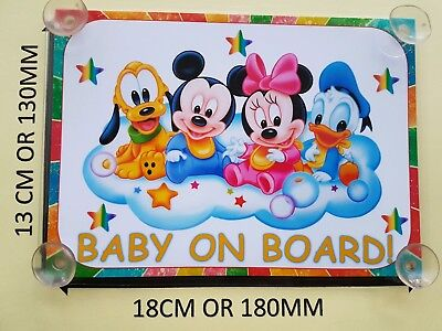 Baby Minnie Mouse, mickey, Donald, Pluto Baby On Board Car Laminated Sign