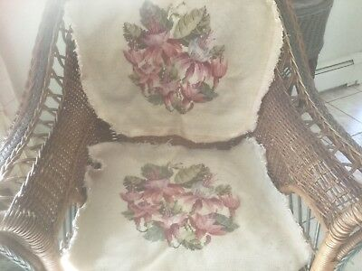 Antique pair needlepoint tapestry seat covers wool floral pink lilies garden