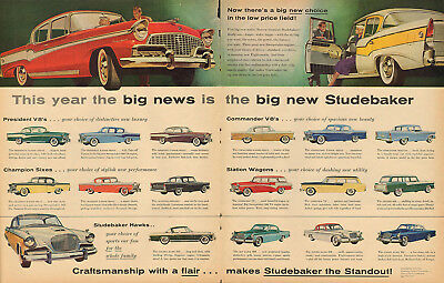 Large 1956 Studebaker President V8's & Champion Sixes & Hawks Ad Advertisement