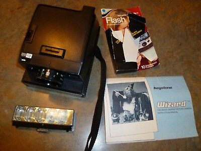 Vintage BERKEY KEYSTONE Instant Camera Wizard XF 1000 bundle GE flash bar/case