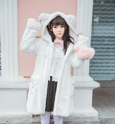 Cute Girls Cat Paw Sleeve Fleece Hooded Outwear Lolita Winter Coat