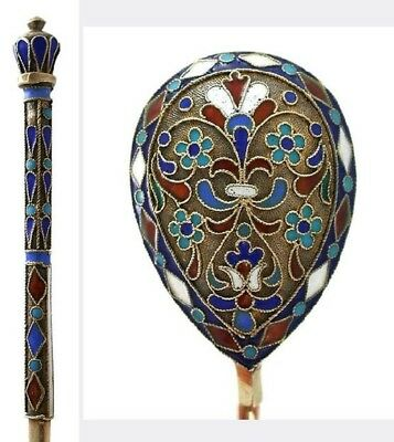 St Petersburg Large Cloisonne Russian Imperial Silver 84 Enamel Spoon Antique Nr