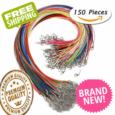 WHOLESALE BULK Lot 150 PCS Mixed Color Waxed Necklace Cord 18 Inches Jewelry NEW