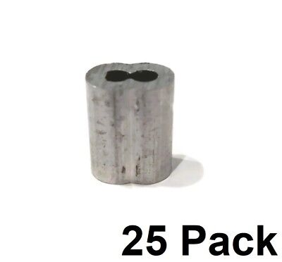 """(25) New 1/8"""" Wire Rope ALUMINUM CABLE CLAMP Double Barrel Loop Ferrule Sleeves"""