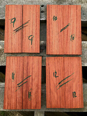 Bubinga / African rosewood bookmatched knife scale sets curly / ripple figure