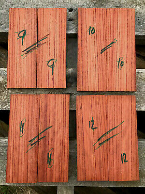 Bubinga / African rosewood bookmatched knife scale sets flame / ripple figure