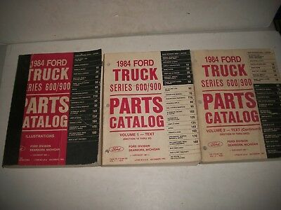 1984 Ford Heavy Truck Series 600-900 Parts Catalog Set Illustrations + Vol 1 & 2