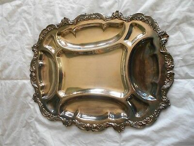 """VTG Poole Old English Silver Plated divided 18""""x14"""" Serving Tray"""