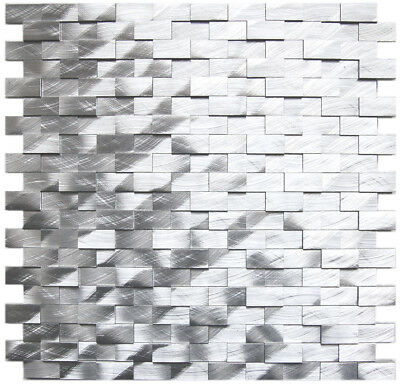 3D Raised Brick Pattern Aluminum Wall Tile - Kitchen Bath Backsplash Fireplace