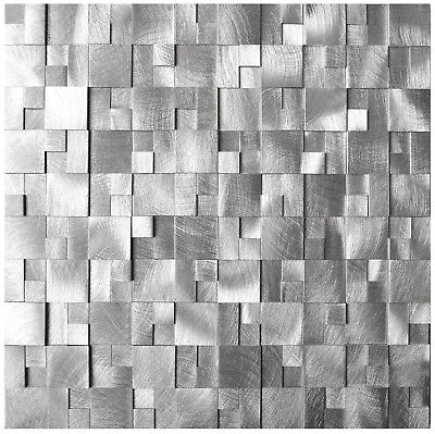 3D Raised Cobblestone Aluminum Mosaic Tile for Backsplash Kitchen Bath Fireplace