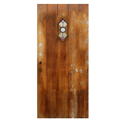 "Reclaimed 36"" Plank Door with Stained Glass Speakeasy, NED766"