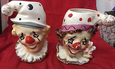 Pair Hand Painted Clown Head Vases And/or Wall Pockets