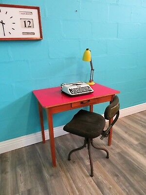 Stylish Retro Vintage Mid Century 50S Beech And Pink Formica Desk Table