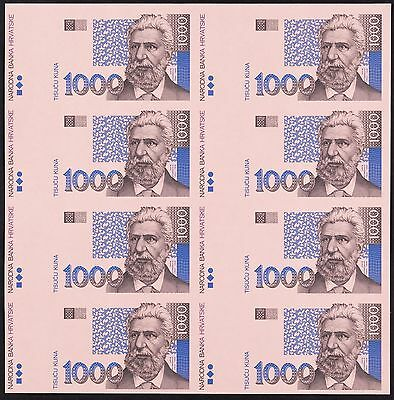 """UNC"" 1993 Croatia 1000 Kuna Uniface Proof Trial Specimens Uncut of 8, P-35 Face"