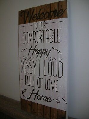 Welcome To Our Home Wooden Wall Sign Plaque