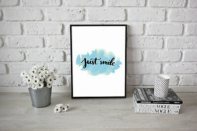 Motivational inspirational quotePoster Picture Art  Just Smile