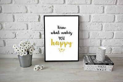 Know What Makes You Happy Artwork Inspirational Kitchen Quote