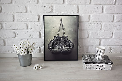 Retro Boxing Gloves Poster Muhammad Ali Art Picture Inspirational Mike Tyson