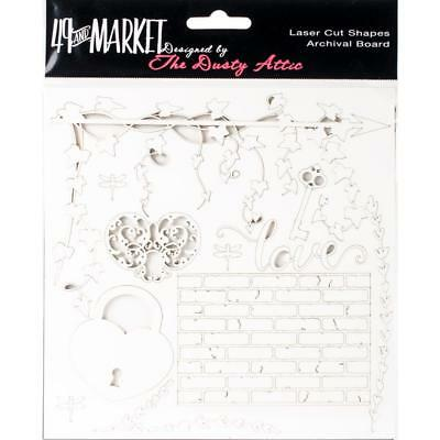 """49 and Market Chippies ~ LOVE ~ WHITE 6"""" x 6"""" Chipboard NEW Dusty Attic"""