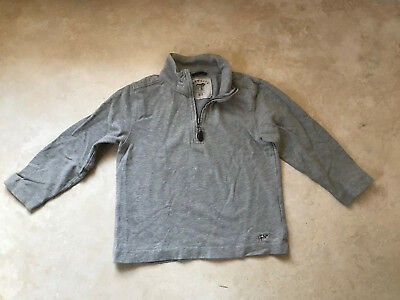 Crewcuts Boys Solid Light Gray 100% Cotton Pullover Zip Neck LongSleeve Sweater