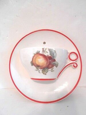 Vintage Large Ceramic Coffee Cup with Peaches Wall Pocket