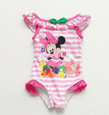 2018 Baby Little Girl Minnie Mouse Swimwear One Piece Striped Swimsuit 2 3 4Year