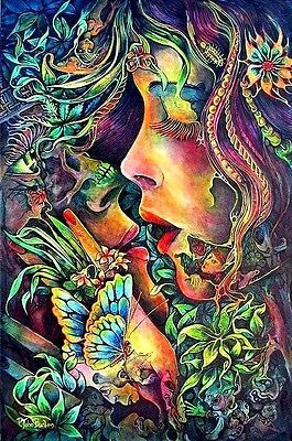 LOVE Psychedelic Woman & Butterfly 60's-70's Art Print Unframed A4