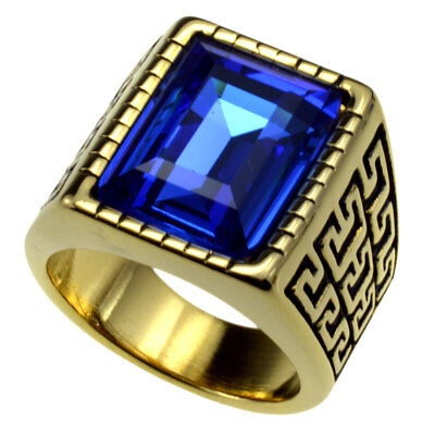 Gold Silver Men's Stainless Steel 316 Cushion Cut Cubic Zirconia Ring