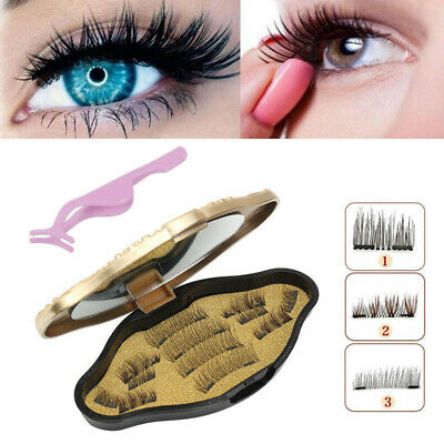 12Pcs 3D Magnetic False Eyelashes Natural Soft Eye Lashes Extension & Tweezer