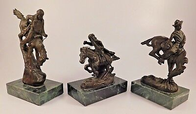 Set of 3 Frederick Remington Bronze Statues Cheyenne, Mountain Man, & Outlaw