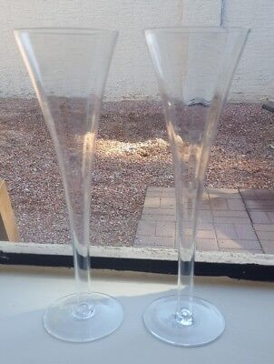 Pair of 2 vintage Hand blown Trumpet Champagne Flutes Glasses toast Optic panel