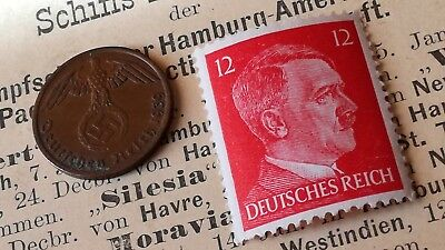 1 Reichspfennig 1937-1939 Coin with SWASTIKA Stamp WW2 #72