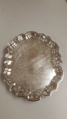 silver plated footed tray
