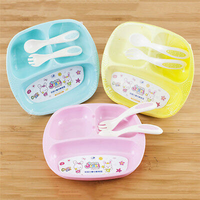 Baby Kids Cartoon Divided Tableware Plate Spoon Fork Cutlery Set Dinnerware