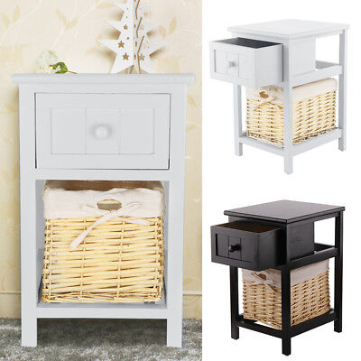 Pair of Chic Bedside Tables Drawers Cabinet Wicker Storage Tables Black/Grey