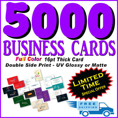 5000 Full Color Glossy/Matte16pt Business Cards Printing-Limited Offer-Free ship