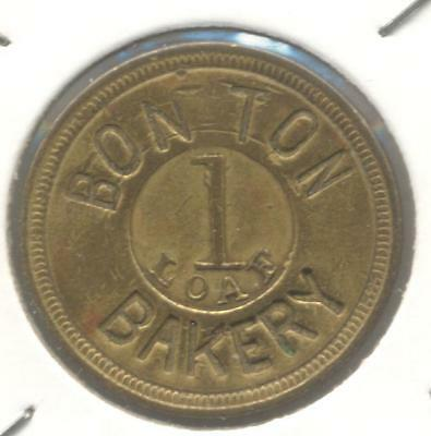 USA Bon Ton Bakery 1 Loaf Brass Token, Early 1900s