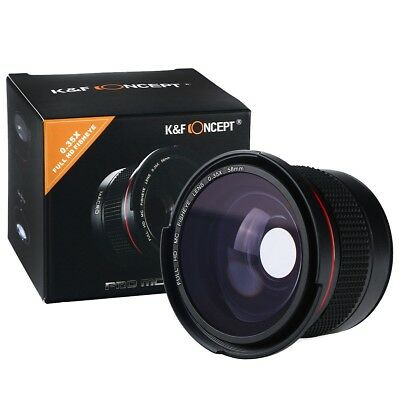 K&F Concept 58MM 0.35x FULL HD MC Wide Angle Fisheye Macro Lens for Canon Rebel