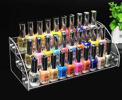 Clear Acrylic Makeup Cosmetic Nail Polish Varnish Display Stand Organiser Holder