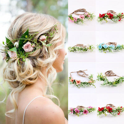 US Women Beach Wedding Flower Hair Garland Crown Headband Floral Wreath Hairband