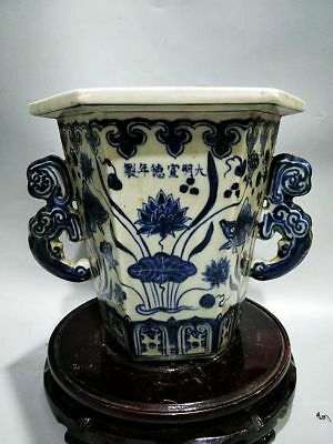 Chinese Ming Dy Blue&white porcelain Hand-painted *fish/Algae* Six sides Pot XP
