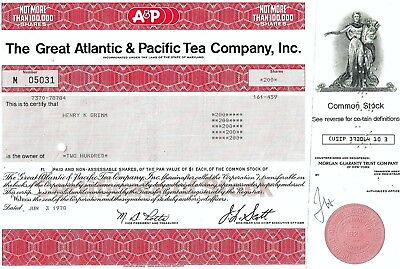 A & P The Great Atlantic & Pacific Tea Company Inc., Maryland, 1978 (200 Shares)