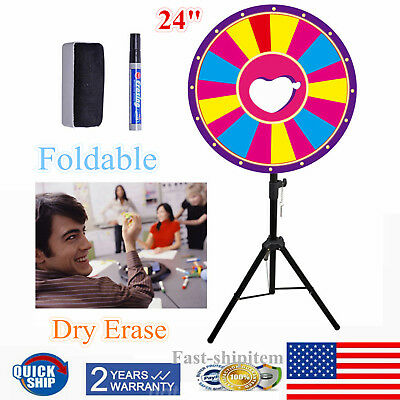 "24"" Folding Dry Erase Prize Wheel Fortune Spinning Game Carnival"